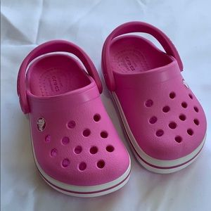 Crocs Pink White Sandals Baby Toddler Size 5